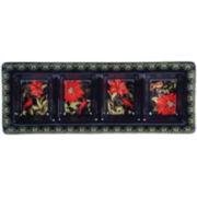 Certified International Botanical Christmas 4-Section Relish Tray