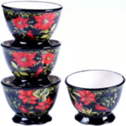 Certified International Botanical Christmas Set of 4 Ice Cream Bowls