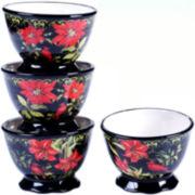 Certified International Botanical Christmas Set of 4 Ice Cream Bowls