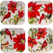 Certified International Botanical Christmas Set of 4 Canapé Plates