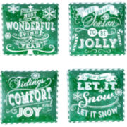 Certified International Chalkboard Christmas Set of 4 Green Dinner Plates