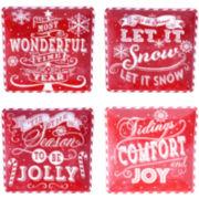 Certified International Chalkboard Christmas Set of 4 Red Dinner Plates