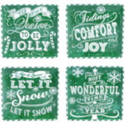 Certified International Chalkboard Christmas Set of 4 Green Dessert Plates