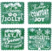 Certified International Chalkboard Christmas Set of 4 Green Dessert Plates