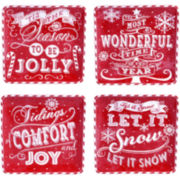 Certified International Chalkboard Christmas Set of 4 Red Dessert Plates