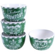 Certified International Chalkboard Christmas Set of 4 Green Ice Cream Bowls