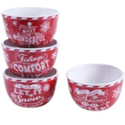 Certified International Chalkboard Christmas Set of 4 Red Ice Cream Bowls