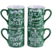Certified International Chalkboard Christmas Set of 4 Green Mugs