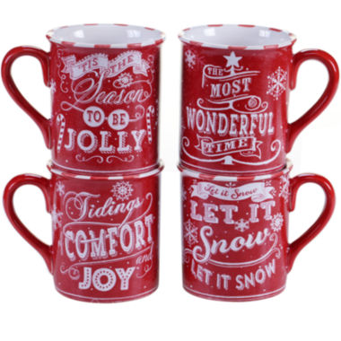 jcpenney.com | Certified International Chalkboard Christmas Set of 4 Red Mugs