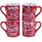 Certified International Chalkboard Christmas Set of 4 Red Mugs