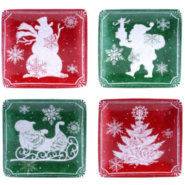 jcpenney.com | Certified International Chalkboard Christmas Set of 4 Canapé Plates