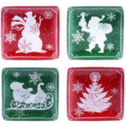 Certified International Chalkboard Christmas Set of 4 Canapé Plates