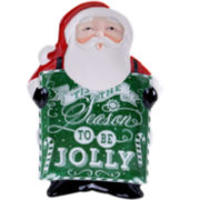 Certified International Chalkboard Christmas Santa Platter