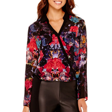 jcpenney.com | nicole by Nicole Miller® Long-Sleeve Printed Surplus Top