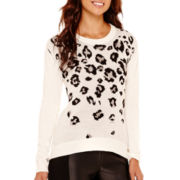 nicole by Nicole Miller® Long-Sleeve Leopard Print Sweater