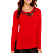 nicole by Nicole Miller® Long-Sleeve Embellished-Trim Sweater