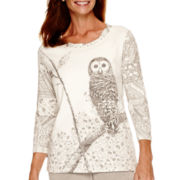 Alfred Dunner® Alpine Lodge 3/4-Sleeve Owl Print Top