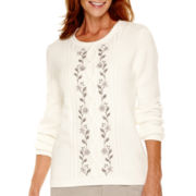 Alfred Dunner® Alpine Lodge Long-Sleeve Floral Embroidered Sweater