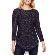 a.n.a® Long-Sleeve Chiffon-Trim Sweater
