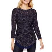 a.n.a® Long-Sleeve Chiffon-Trim Sweater