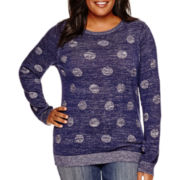 Liz Claiborne® Long-Sleeve Dot Sweater - Plus