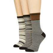 Mixit™ Womens 3-pk. Striped Crew Socks