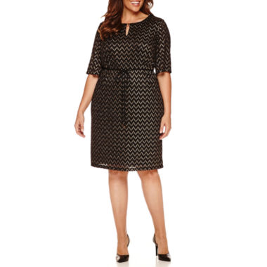 jcpenney.com | Studio 1 Elbow Sleeve Metallic Lace Belted Sheath Dress-Plus