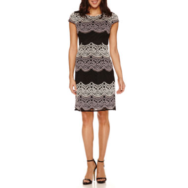 jcpenney.com | Studio 1 Short Sleeve Lace Shift Dress-Petites