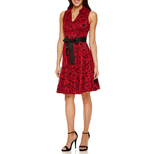 Robbie Bee Sleeveless Lace Fit & Flare Dress-Petites