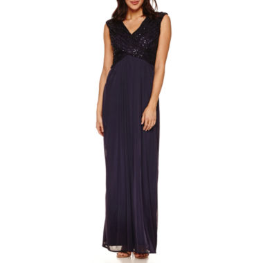 jcpenney.com | Ombre Short Sleeve Sequin Lace Bodice Evening Gowns-Petites