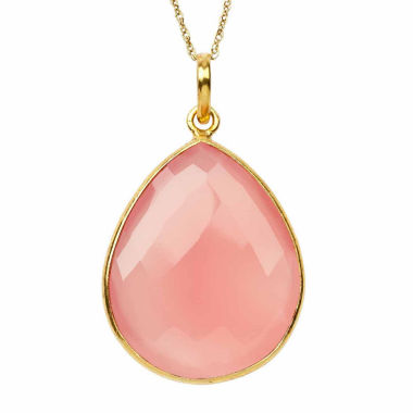 jcpenney.com | Womens Pink Quartz Gold Over Silver Pendant Necklace