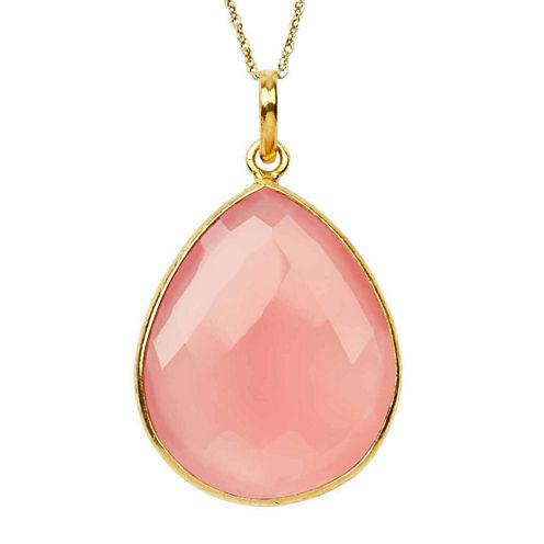 Womens Pink Quartz Gold Over Silver Pendant Necklace