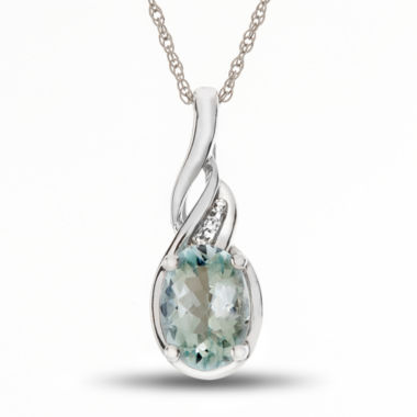 jcpenney.com | Womens Diamond Accent Blue Aquamarine Gold Pendant Necklace