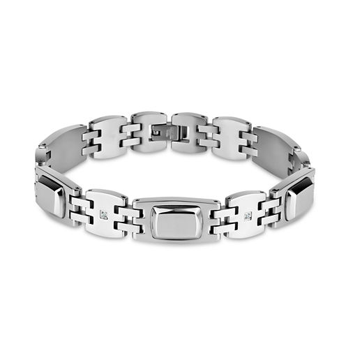 Mens 8.5 Inch Black Stainless Steel Link Bracelet