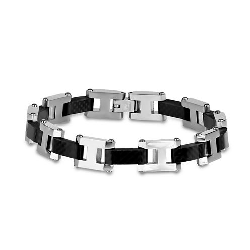 Mens 8.5 Inch Cubic Zirconia Stainless Steel Link Bracelet