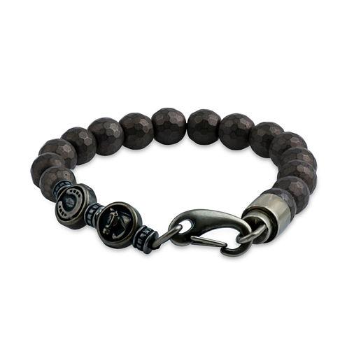 Mens Brown Hematite Stainless Steel Beaded Bracelet