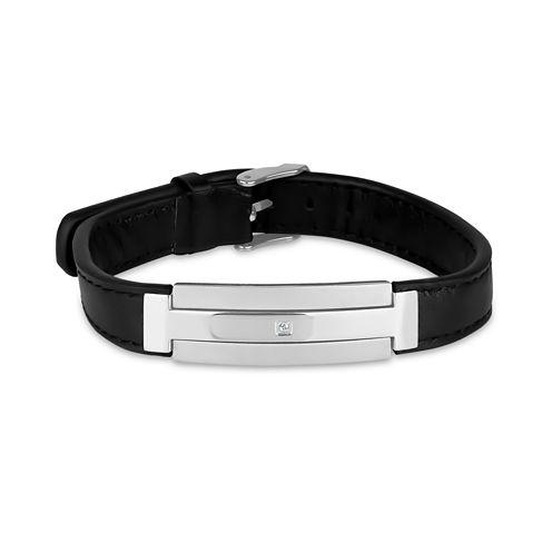 Mens White Cubic Zirconia Stainless Steel Id Bracelet
