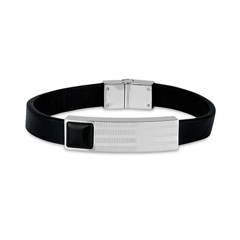 Mens Black Onyx Stainless Steel Id Bracelet