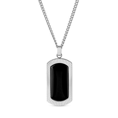 Mens Black Onyx Stainless Steel Pendant Necklace