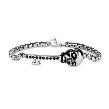 jcpenney.com | Mens 8.5 Inch Black Cubic Zirconia Stainless Steel Link Bracelet