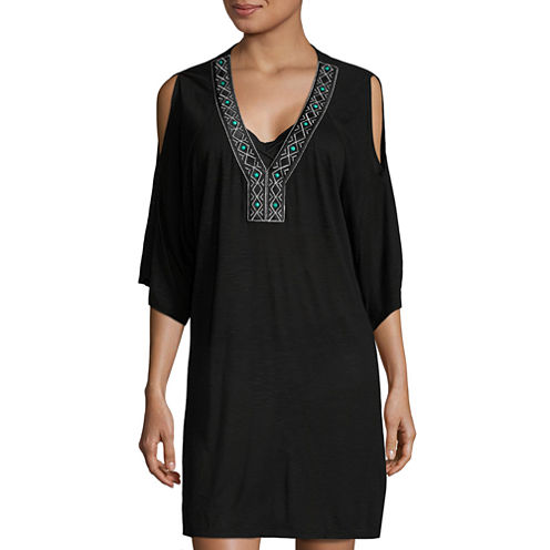 a.n.a Embroidered Cold Shoulder Tunic