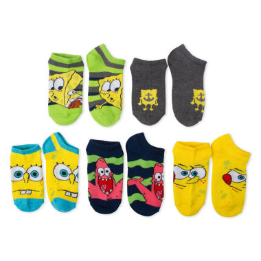 jcpenney.com | Boys 5-Pk. Spongebob No Show Socks