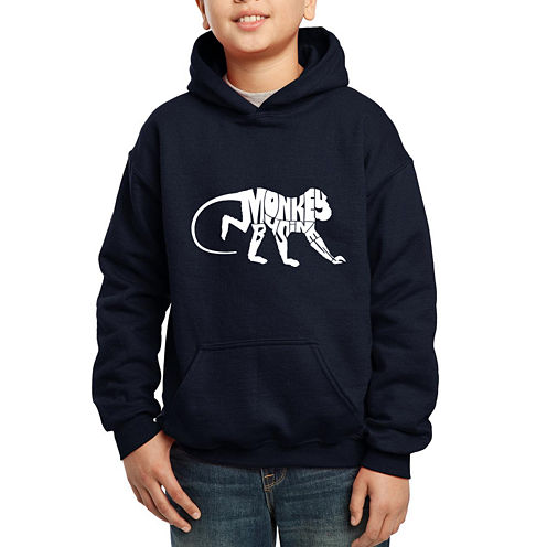 Los Angeles Pop Art Created Out Of The Words Monkey Business Hoodie-Big Kid Boys