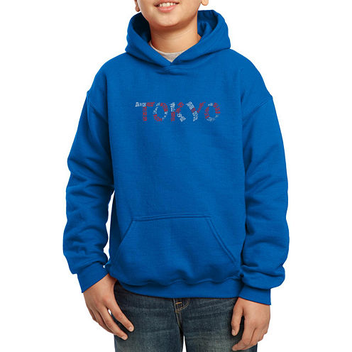 Los Angeles Pop Art The Names Of Tokyo Neighborhoods Hoodie-Big Kid Boys