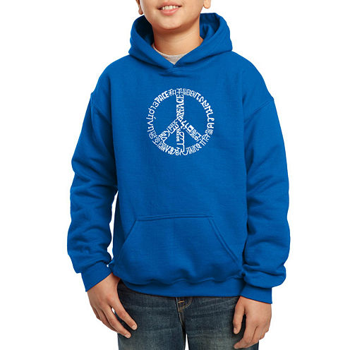 Los Angeles Pop Art The Word Peace In 20 Different Languages Hoodie-Big Kid Boys