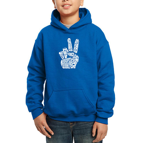 Los Angeles Pop Art Created Using Words Give Peace A Chance Hoodie-Big Kid Boys