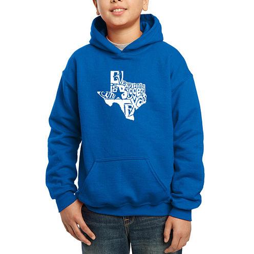Los Angeles Pop Art Everything Is Bigger In Texas Hoodie-Big Kid Boys