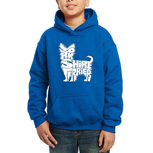 Los Angeles Pop Art Yorkshire Terrier Hoodie-Big Kid Boys
