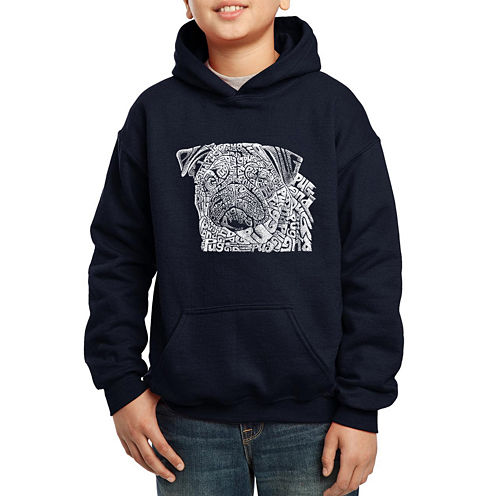 Los Angeles Pop Art The Word Pug Hoodie-Big Kid Boys