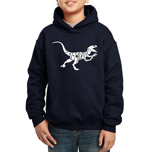 Los Angeles Pop Art Created Out Of The Word Velociraptor Hoodie-Big Kid Boys
